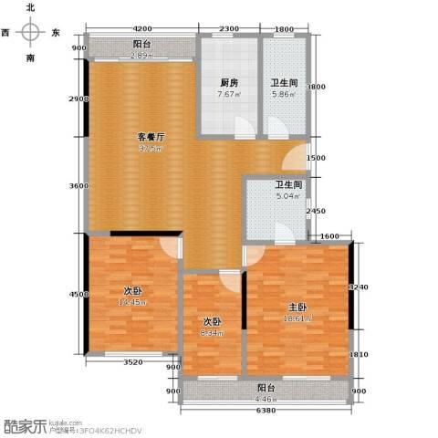 裕园公寓3室1厅2卫1厨104.83㎡户型图
