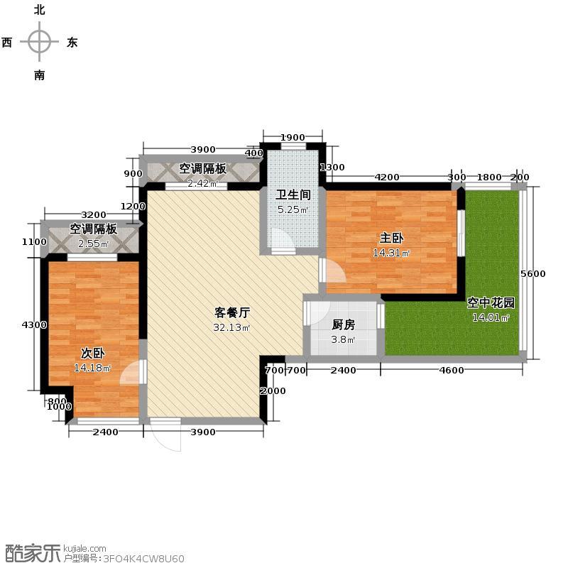 金域三江102.34㎡C户型2室1厅1卫1厨