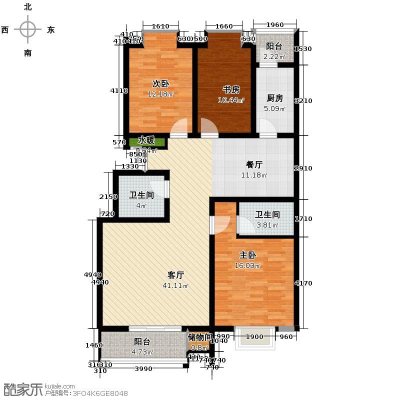 三泰茗居135.17㎡F户型3室2厅2卫