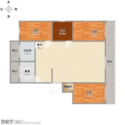 天鑫家园一期4室1厅1卫1厨126.00㎡户型图
