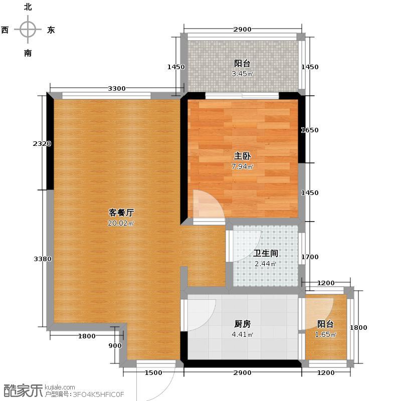 上东阳光艾特公馆51.20㎡E-02//户型1室2厅1卫