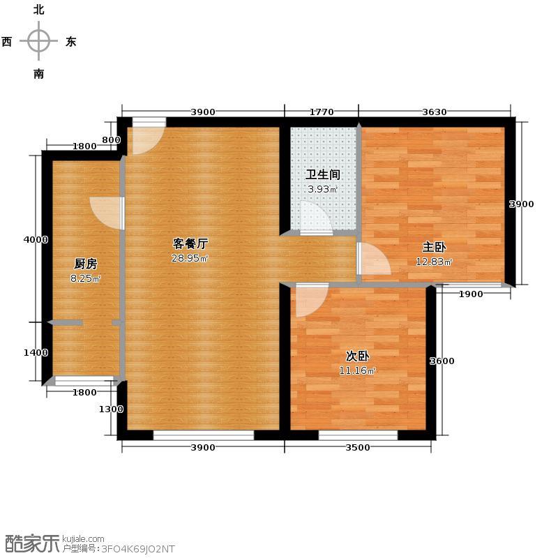 远洋一方89.99㎡36、37、38号楼B4-b户型2室1厅1卫