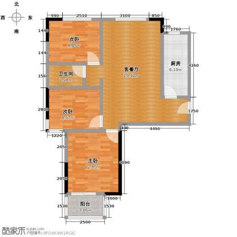 红苹果3室1厅1卫1厨107.00㎡户型图