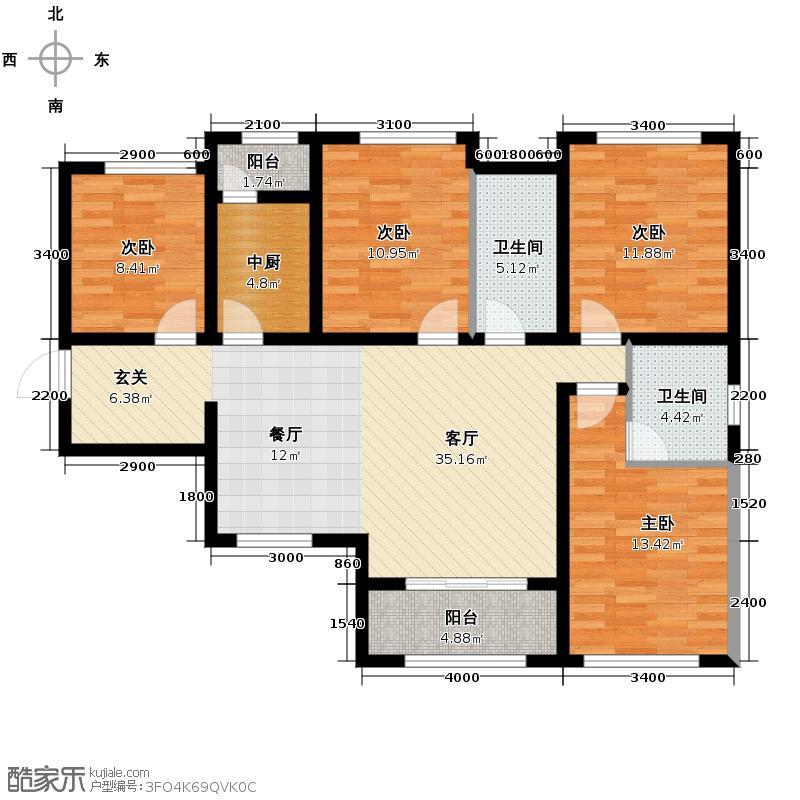 上置绿洲雅宾利花园110.70㎡c变户型4室2厅2卫