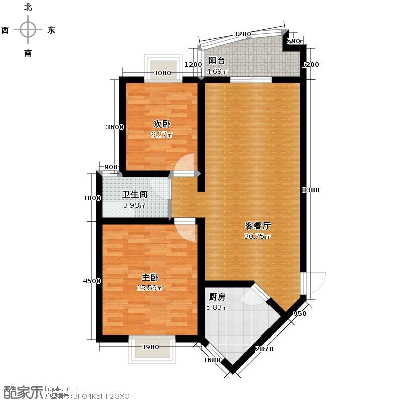 景秀西江85.48㎡一期2栋、3栋4栋5栋D1户型2室2厅1卫