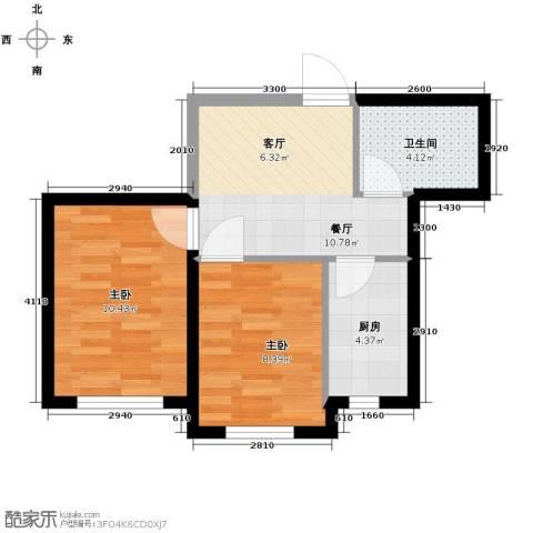 格林馨港湾2室1厅1卫0厨62.00㎡户型图