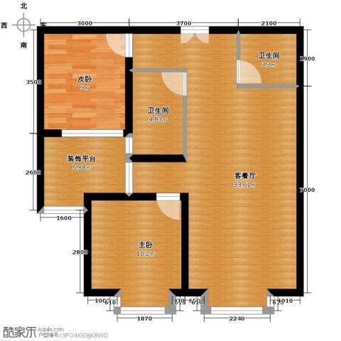 红星美凯城2室2厅1卫0厨76.34㎡户型图