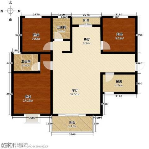 香缤国际城3室2厅2卫0厨124.00㎡户型图