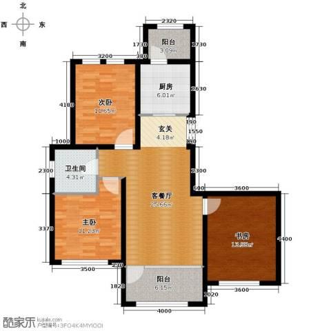 群力玫瑰湾3室1厅1卫1厨82.07㎡户型图