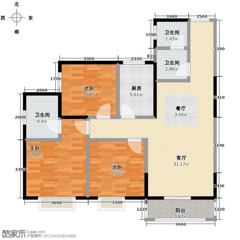 长乐坊114.00㎡21#楼户型3室2厅2卫