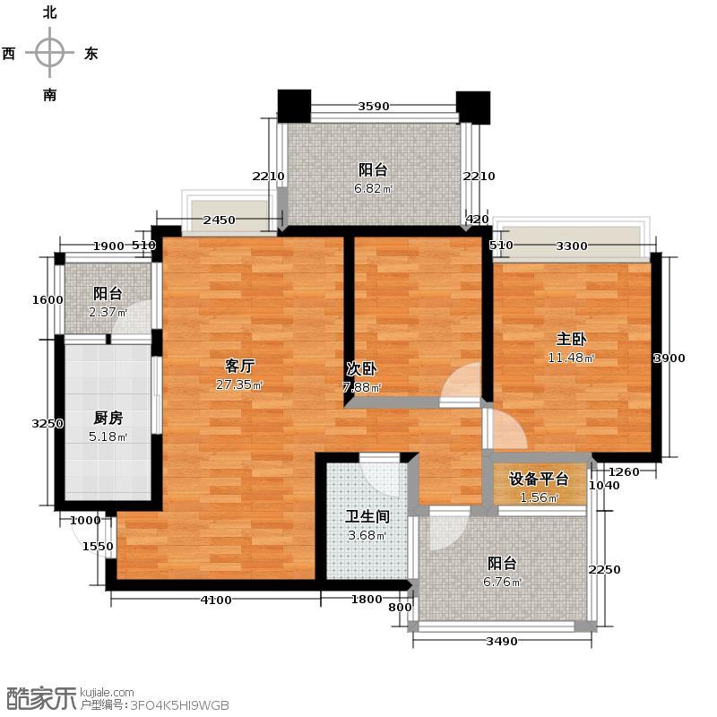 禹鑫亚瑟的城堡93.00㎡A2户型2室2厅1卫