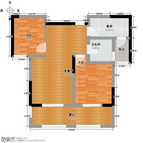 当代安普顿小镇2室2厅1卫0厨80.00㎡户型图