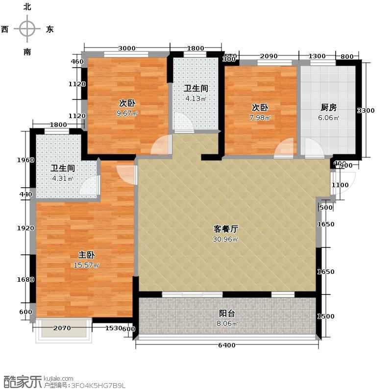 珞桂路99号117.60㎡A2(改)户型3室1厅2卫1厨