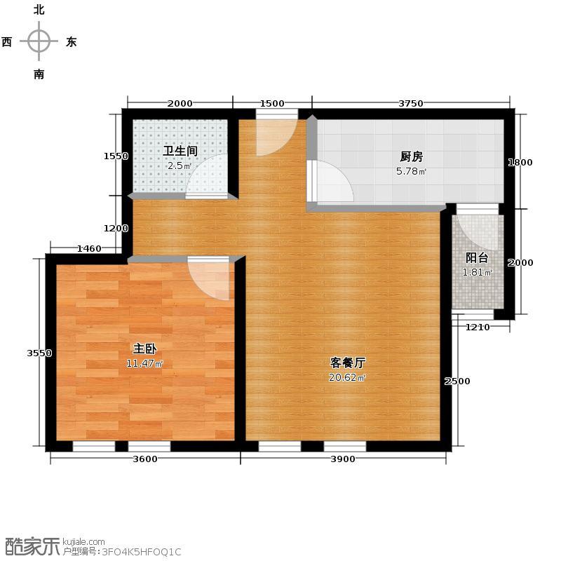 中粮大道65.00㎡F户型1室2厅1卫