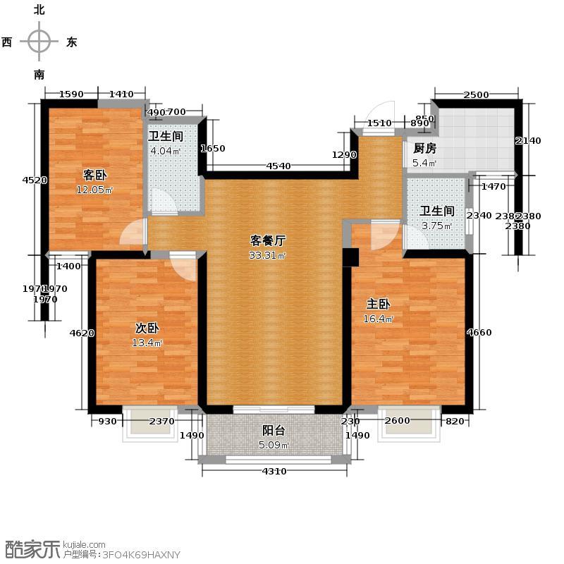 罗马景福城123.11㎡户型3室2厅2卫