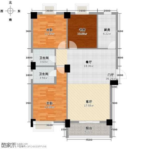 �口金利屋3室0厅2卫1厨131.00㎡户型图