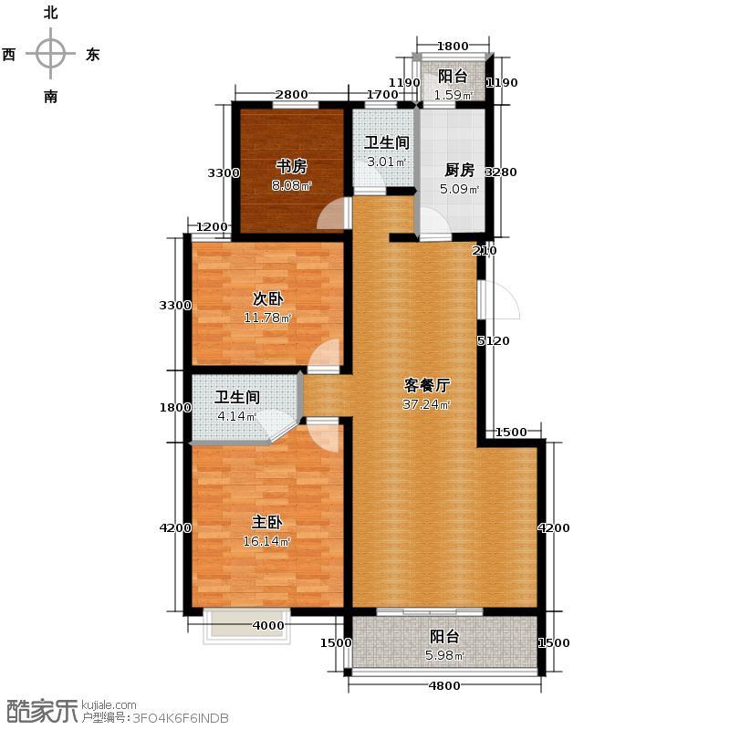 易合坊129.81㎡F1朗阔美居户型3室2厅2卫