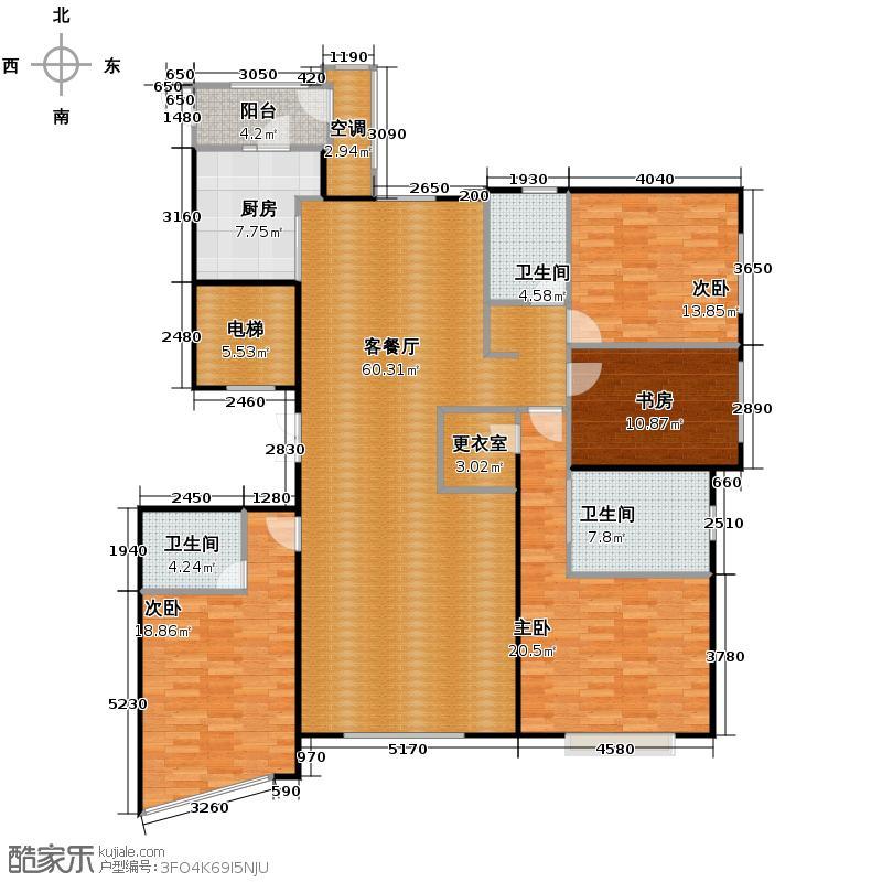 东湖湾214.13㎡307#非标准层2单元022层四室户型10室
