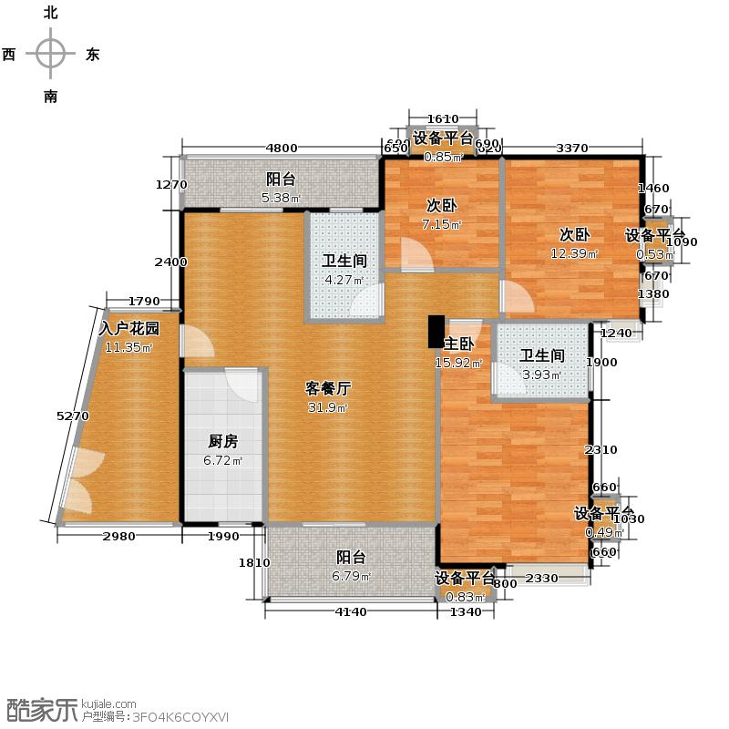 海逸锦绣蓝湾116.47㎡02单位户型3室2厅2卫