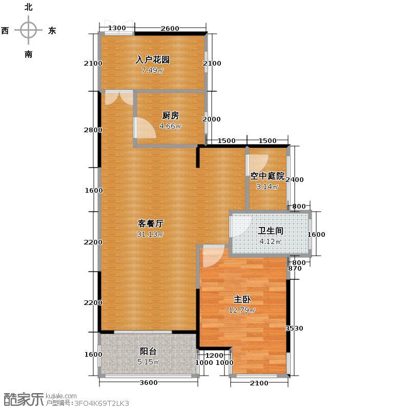 通用时代国际社区75.00㎡GE2户型1室2厅1卫