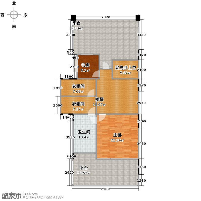 协信阿卡迪亚83.73㎡江域27峰E三层户型2室1卫