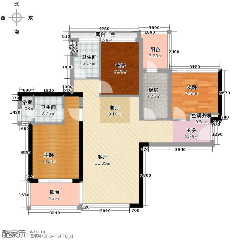 卓越皇后道89.00㎡011-2栋A-B单元C单位偶数层户型3室2厅2卫