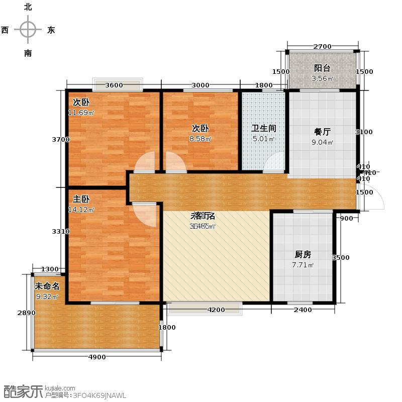 鼎盛华城113.09㎡B1户型3室2厅1卫