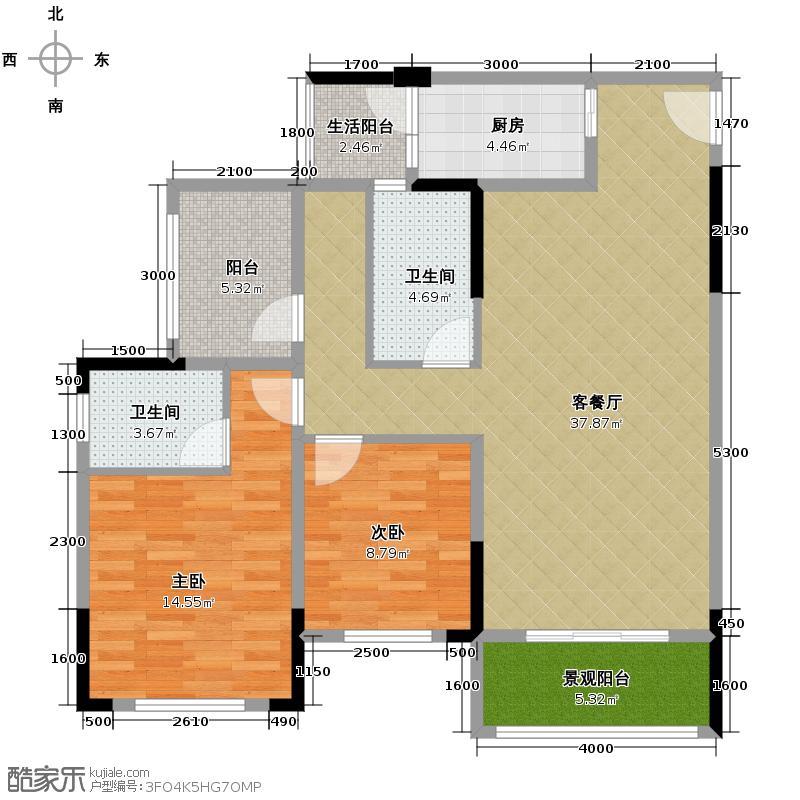 金科廊桥水乡105.63㎡高层A双卫带可变空间户型2室1厅2卫