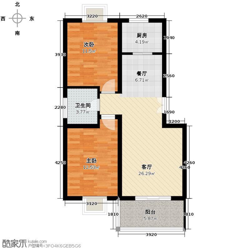丽湾岛98.82㎡户型2室2厅1卫