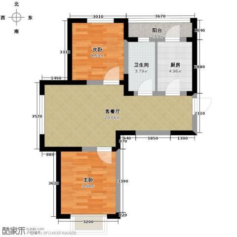 棠棣2室2厅1卫0厨81.00㎡户型图