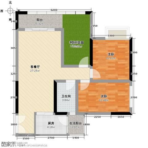 春江花月2室1厅1卫1厨71.45㎡户型图