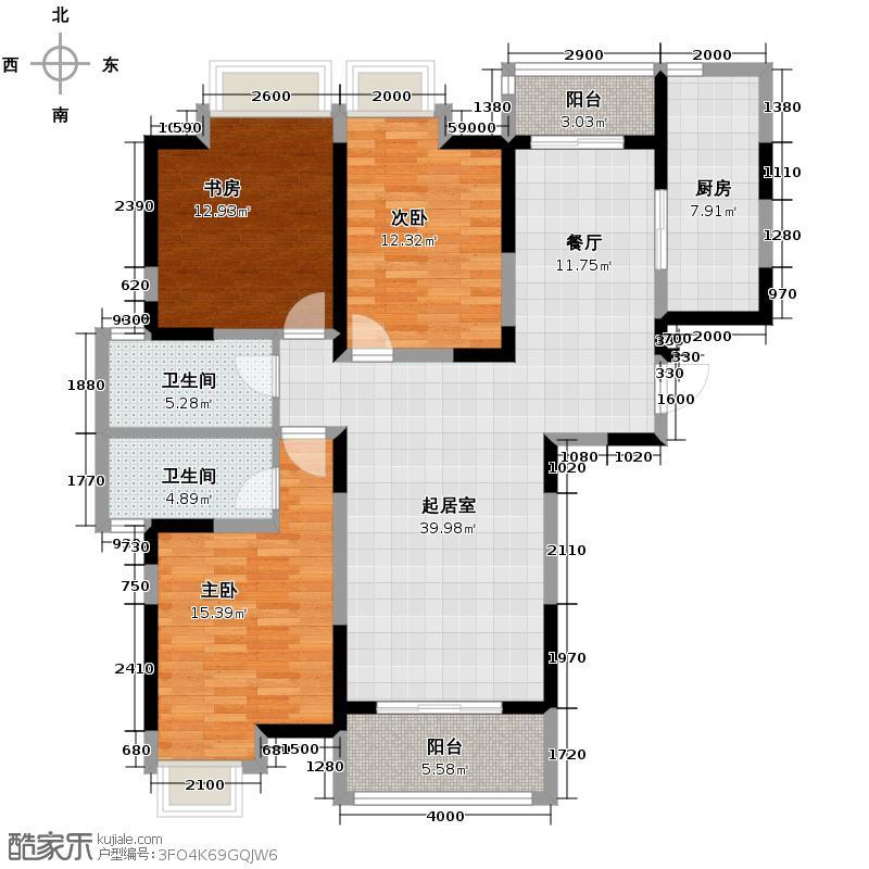 林隐天下133.00㎡二期林香庭A2餐厨一体双阳台户型10室