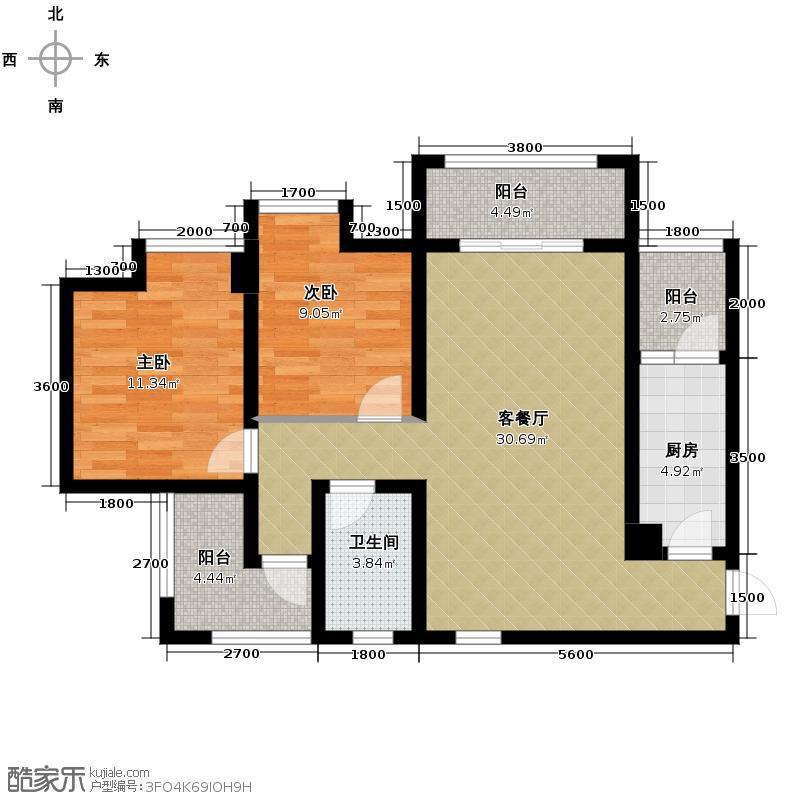 明信青庭89.39㎡B1户型2室2厅1卫