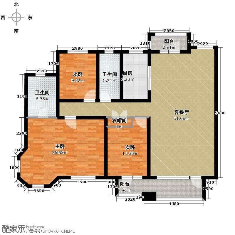华润橡树湾168.00㎡E户型3室2厅2卫