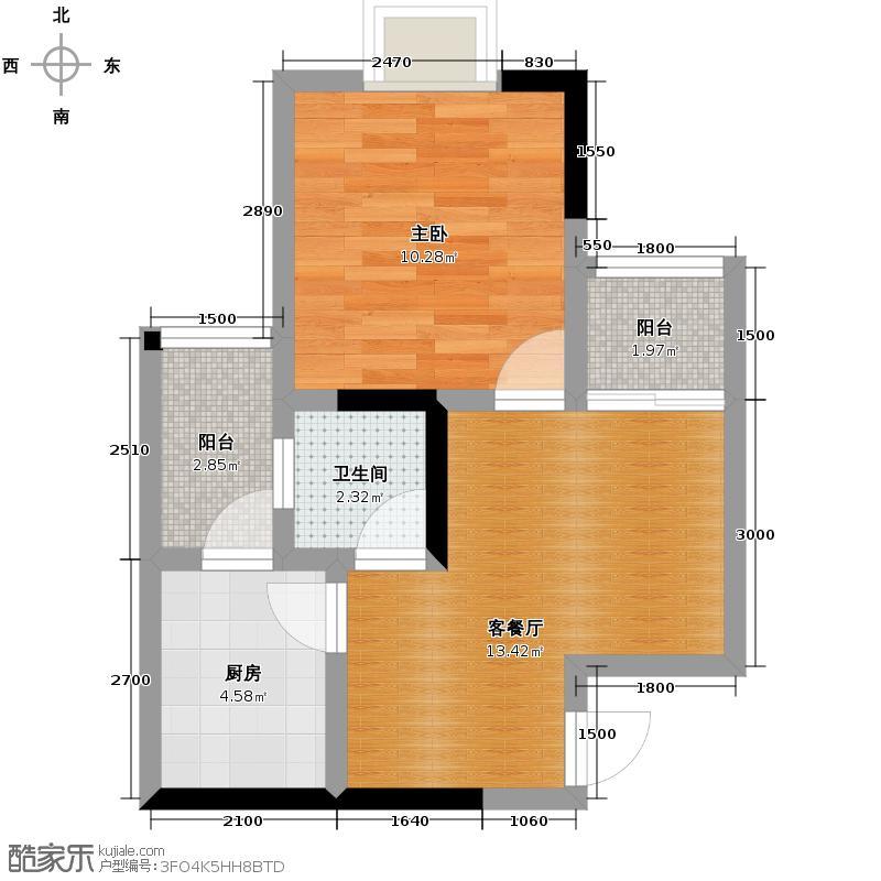 春语江山38.88㎡5号楼1号单卫双阳台户型1室2厅1卫