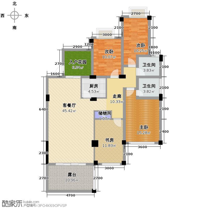 紫云黄狮海岸130.00㎡房型户型4室1厅2卫1厨