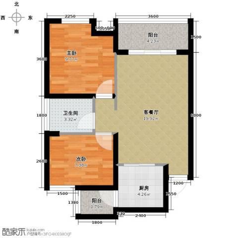 碧桂苑2室1厅1卫1厨56.00㎡户型图