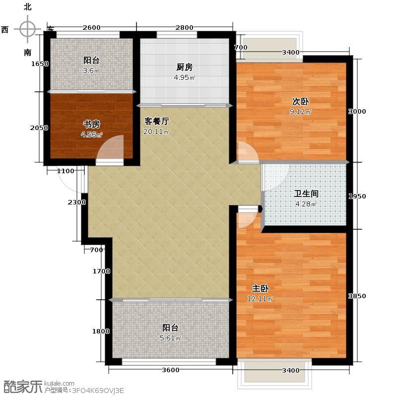 保利百合花园90.00㎡11#楼d户型3室1厅1卫1厨