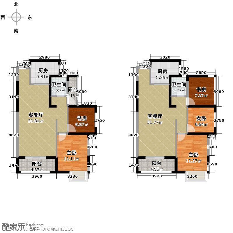 珞桂路99号99.90㎡B4二号楼户型5室2厅2卫2厨