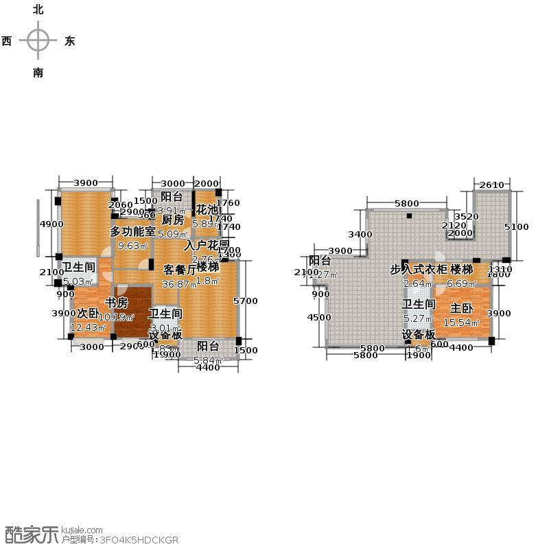 都江逸家135.00㎡D5型户型3室1厅3卫1厨