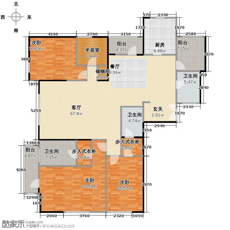 招商钻石山240.00㎡A013-7层偶数层户型4室2厅3卫