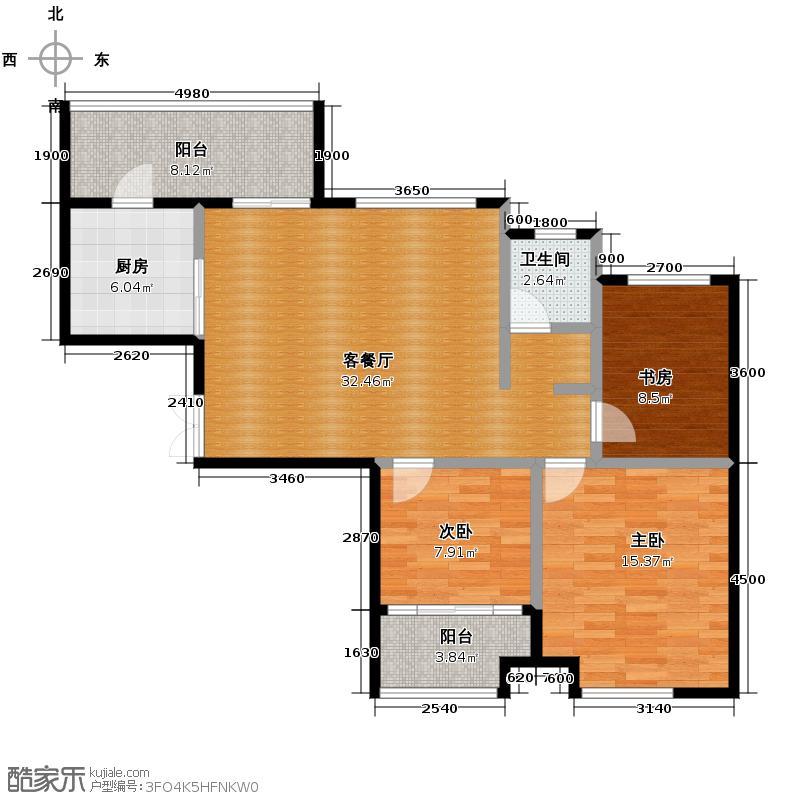 龙天名俊105.00㎡2、4号楼D赠户型3室1厅1卫1厨