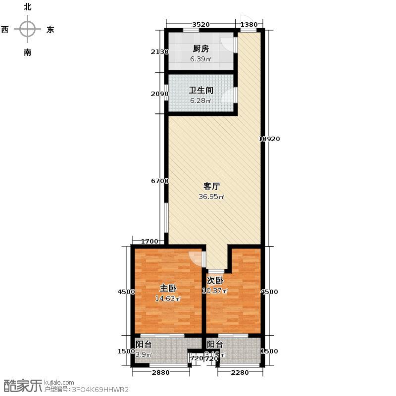 海尚都123.00㎡户型2室2厅1卫