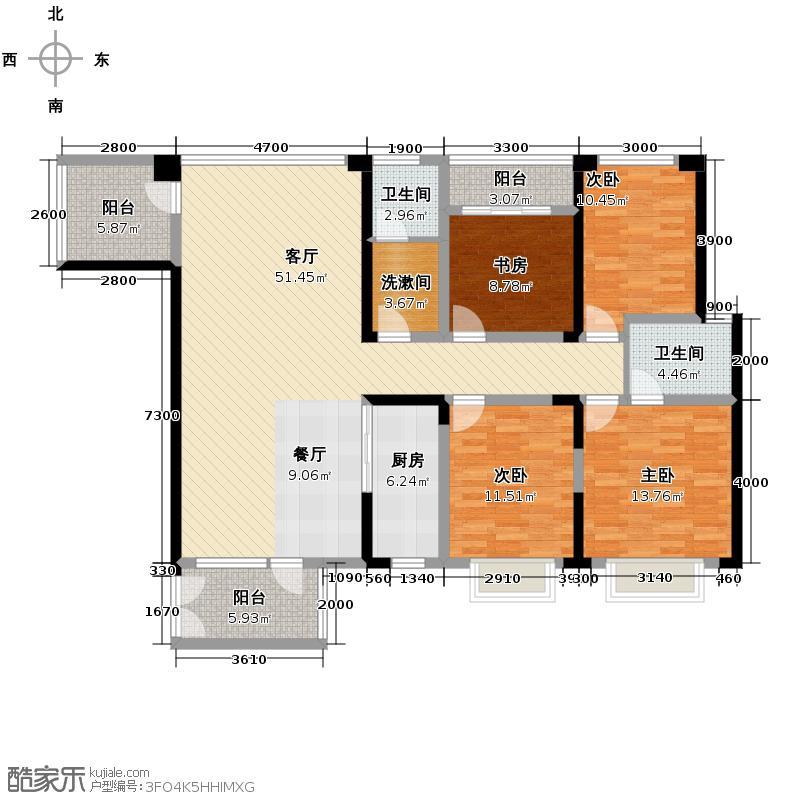 奥克斯广场159.00㎡一期标准层B户型4室1厅2卫1厨