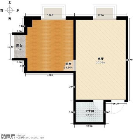 港湾国际1室2厅1卫0厨57.00㎡户型图