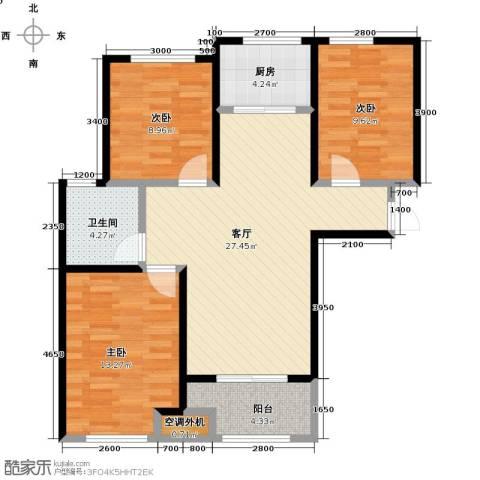 朗诗里程3室2厅1卫0厨89.00㎡户型图