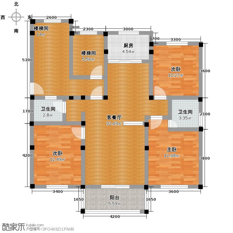 皇马花园85.80㎡11221m2户型3室1厅2卫1厨