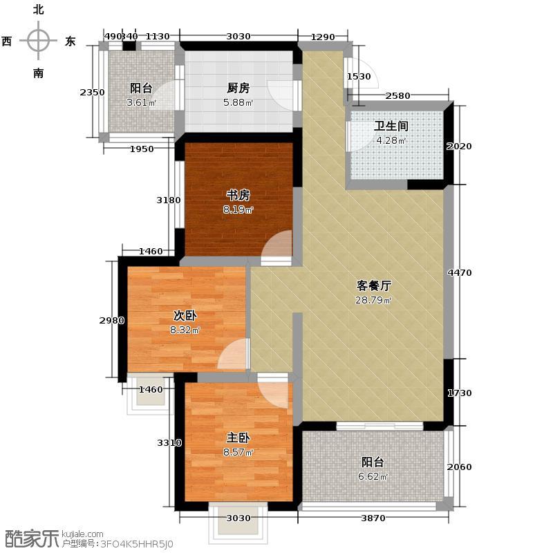 首创国际城89.00㎡4号楼D2户型3室1厅1卫1厨