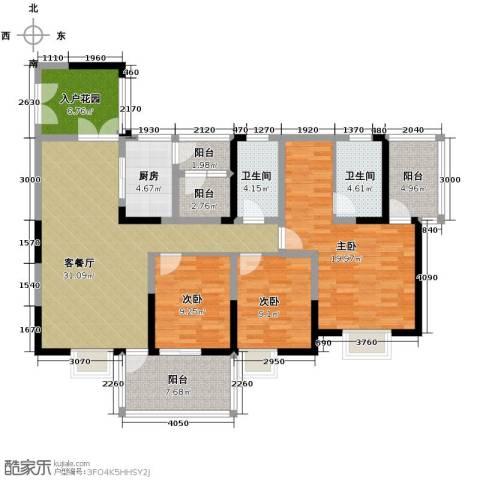 红树湾3室2厅2卫0厨126.00㎡户型图