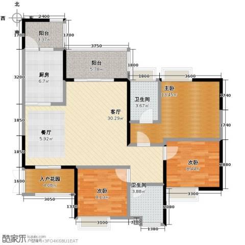 协信阿卡迪亚3室1厅2卫1厨92.00㎡户型图